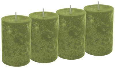 4 Stumpenkerzen Kerzen Grün Olive 6cm