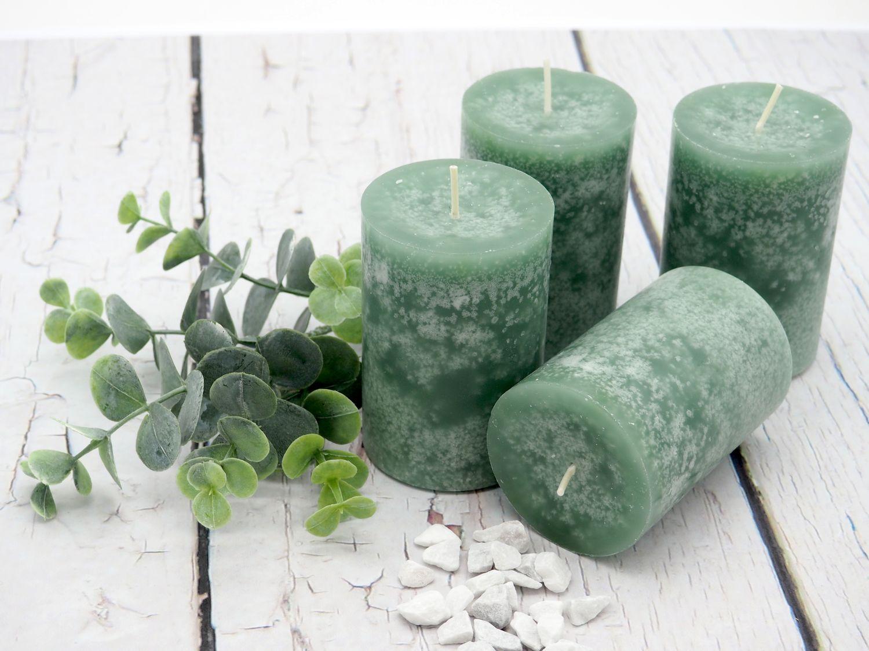 4 Stumpenkerzen Kerzen Grün Mint Salbei Tischdeko Hochzeit Kommunion Konfirmation Adventskranz