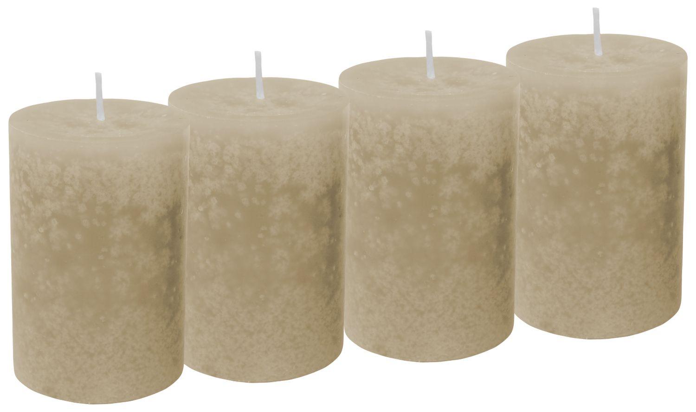 4 Stumpenkerzen Kerzen Taupe Beige Sand Tischdeko Deko Adventskranz Weihnachten Hochzeit Kommunion Konfirmation