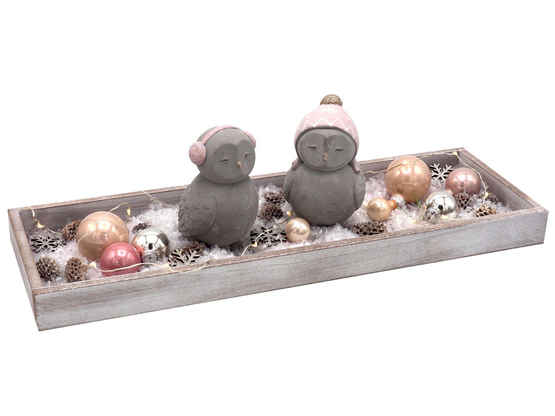 Weihnachten Deko Tablett Eulen Pastell Rosa Creme Grau Lichterkette