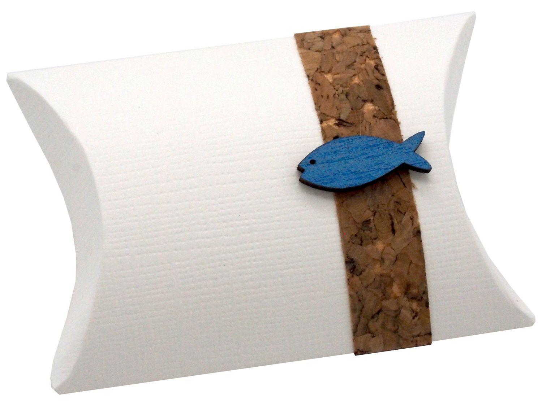 Gastgeschenk Schachtel Kork Fisch Holz Blau Basteln Kartonage Tischdeko Kommunion Konfirmation