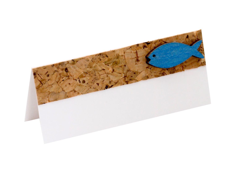 10 Tischkarten Namenskarten Kork Fisch Holz Blau Tischdeko Kommunion Konfirmation