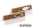 10 Tischkarten Namenskarten Kork Fisch Holz Weiß Tischdeko Kommunion Konfirmation 1