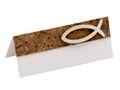 10 Tischkarten Namenskarten Kork Fisch Holz Weiß Tischdeko Kommunion Konfirmation 3