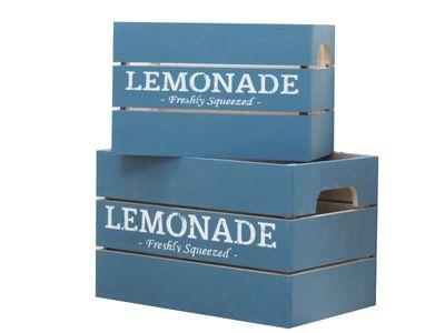 2 Holzkisten Holz Kiste Box Blau Lemonade Aufbewahrung