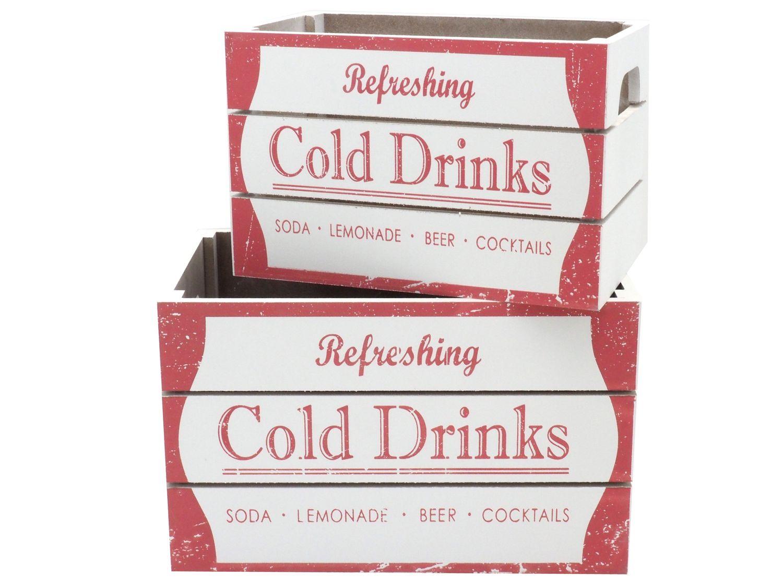 Holzkisten Holz Kiste Box Weiß Rot Aufbewahrung Kisten Deko Vintage Retro 2 Stück
