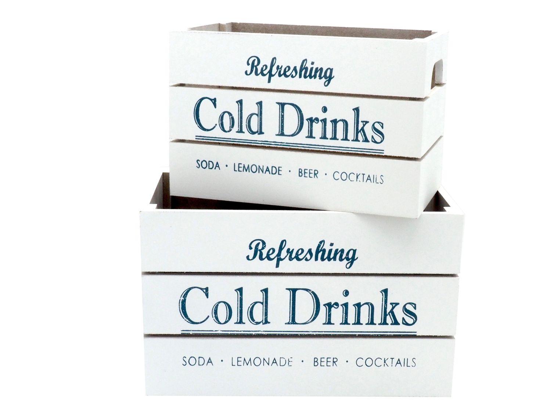 2 Holzkisten Holz Kiste Box Weiß Blau Aufbewahrung Kisten Deko Vintage Retro Küche