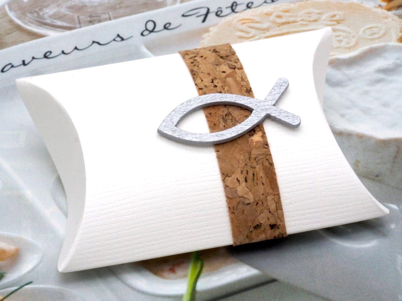 Gastgeschenk Schachtel Kork Fisch Holz Silber Basteln Kartonage Tischdeko Kommunion Konfirmation