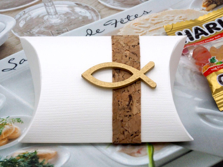 Gastgeschenk Schachtel Kork Fisch Holz Gold Basteln Kartonage Tischdeko Kommunion Konfirmation