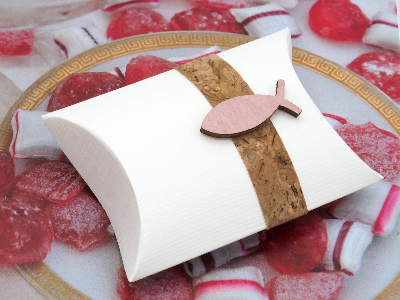 2 Gastgeschenke Schachtel Kork Fisch Holz Rosa Basteln Kartonage Tischdeko Kommunion Konfirmation