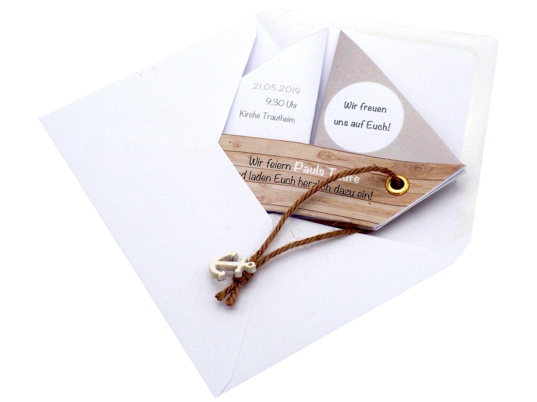 Einladungskarte Kommunion Konfirmation Taufe Boot Schiff Taupe Einladung Umschlag Braun Weiß