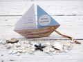 Einladungskarte Kommunion Konfirmation Taufe Boot Schiff Grün Einladung Umschlag Braun Weiß 3