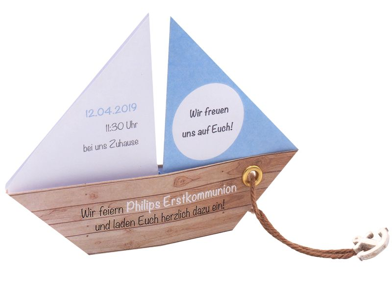 Einladungskarte Kommunion Konfirmation Taufe Boot Schiff Hellblau Blau Einladung Umschlag Braun Weiß