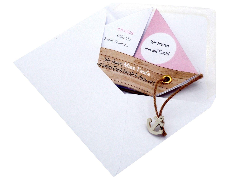 Einladungskarte Kommunion Konfirmation Taufe Boot Schiff Rosa Einladung Umschlag Braun Weiß