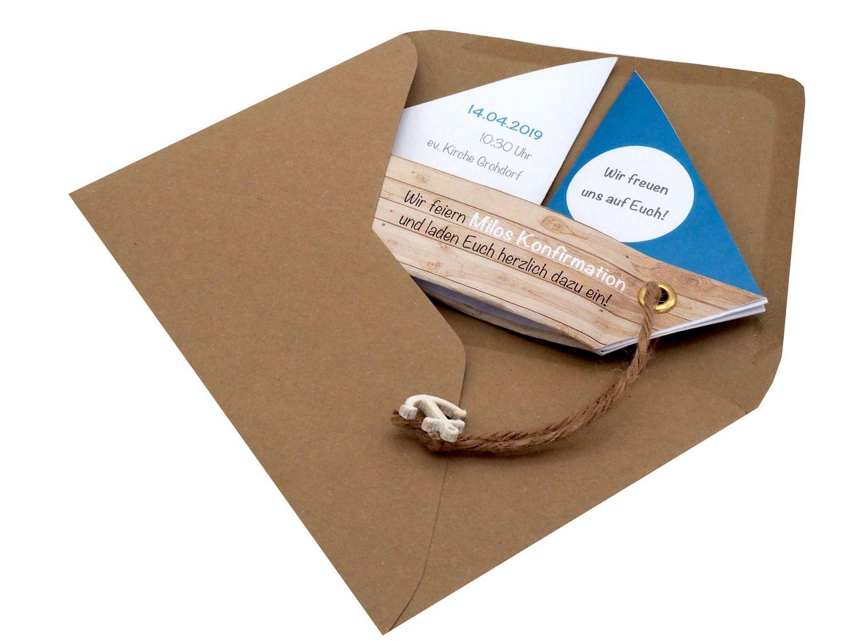 Einladungskarte Kommunion Konfirmation Taufe Boot Schiff Petrol Einladung Umschlag Braun Weiß
