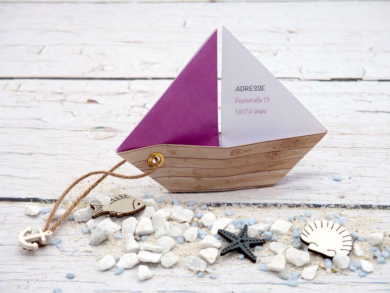 Einladungskarte Kommunion Konfirmation Taufe Boot Schiff Grün Einladung Umschlag Braun Weiß