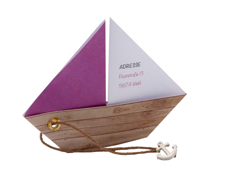 Einladungskarte Kommunion Konfirmation Taufe Boot Schiff Mauve Lila Einladung Umschlag Braun Weiß