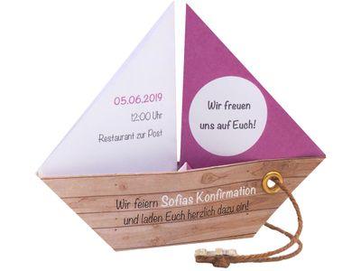 Einladungskarte Kommunion Konfirmation Taufe Boot Mauve Lila Umschlag Braun Weiß