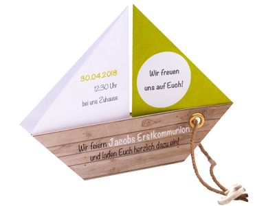 Einladungskarte Kommunion Konfirmation Taufe Boot Grün Umschlag Braun Weiß