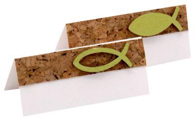 10 Tischkarten Namenskarten Fisch Grün Holz Kork Kommunion Konfirmation