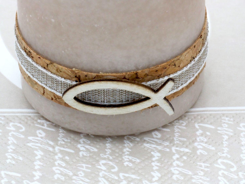 2 Stumpenkerzen Kerzen Sand Beige Braun Kork Fisch Creme Tischdeko Kerzendeko Kommunion Konfirmation