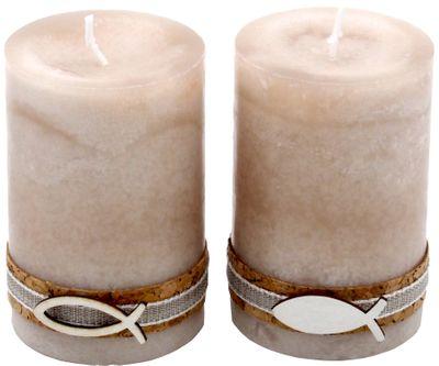 2 Stumpenkerzen Kerzen Sand Beige Kork Fisch Tischdeko