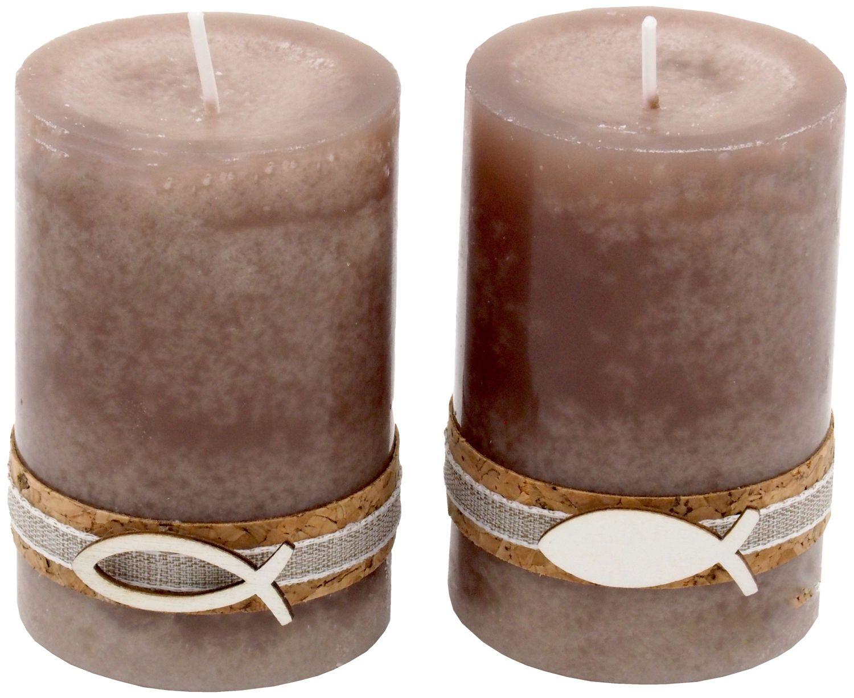 2 Stumpenkerzen Kerzen Stein Braun Kork Fisch Creme Tischdeko Kerzendeko Kommunion Konfirmation