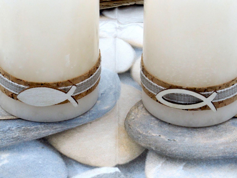 2 Stumpenkerzen Kerzen Weiß Kork Fisch Creme Tischdeko Kerzendeko Kommunion Konfirmation