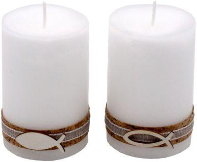 2 Stumpenkerzen Kerzen Weiß Kork Fisch Holz Tischdeko