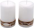2 Stumpenkerzen Kerzen Weiß Kork Fisch Creme Tischdeko Kerzendeko Kommunion Konfirmation  1