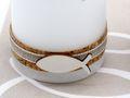 2 Stumpenkerzen Kerzen Weiß Kork Fisch Creme Tischdeko Kerzendeko Kommunion Konfirmation  3