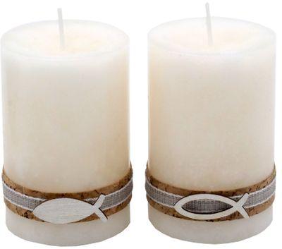2 Stumpenkerzen Kerzen Creme Kork Fisch Holz Tischdeko