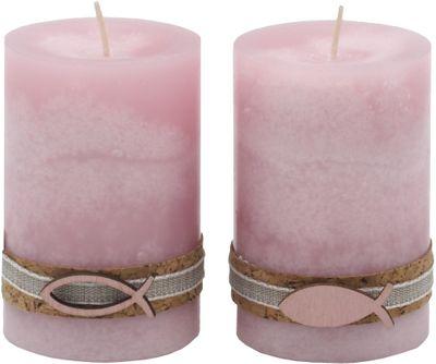 2 Stumpenkerzen Kerzen Rosa Kork Fisch Holz Tischdeko