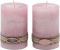 2 Stumpenkerzen Kerzen Rosa Kork Fisch Holz Tischdeko 001