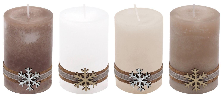 4 Adventskerzen Kerzen Stumpenkerzen Holz Weihnachten Tischdeko Braun Beige Wollweiß Weiß Deko