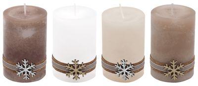 4 Adventskerzen Kerzen Stumpenkerzen Holz Schneeflocke Weihnachten Advent Deko