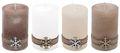 4 Adventskerzen Kerzen Stumpenkerzen Holz Weihnachten Tischdeko Braun Beige Wollweiß Weiß Deko  1
