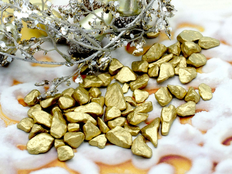 500g Streudeko Granulat Steine Gold Grob Metallic Deko Tischdeko Weihnachten Advent