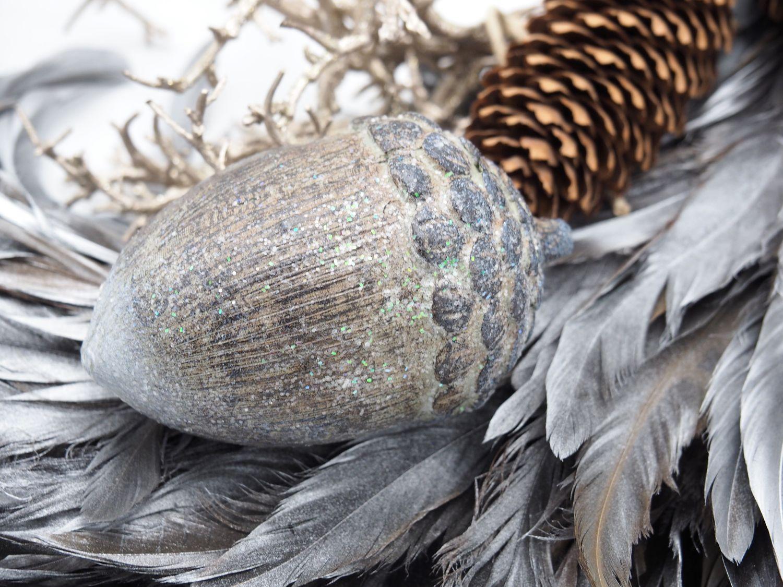 Dekofigur Eichel Holz Taupe Braun Glimmer Herbst Weihnachten Tischdekoration Dekoobjekt Nuss