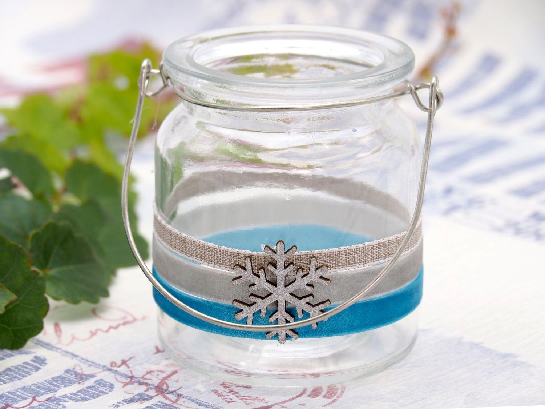 Windlicht mit Henkel Weihnachten Teelichtglas Deko Schneeflocke Eisblau Silber Tischdeko Advent Winter
