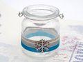 Windlicht mit Henkel Weihnachten Teelichtglas Deko Schneeflocke Eisblau Silber Tischdeko Advent Winter 3