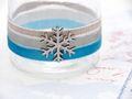 Windlicht mit Henkel Weihnachten Teelichtglas Deko Schneeflocke Eisblau Silber Tischdeko Advent Winter 2