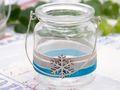 Windlicht mit Henkel Weihnachten Teelichtglas Deko Schneeflocke Eisblau Silber Tischdeko Advent Winter 5