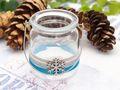 Windlicht mit Henkel Weihnachten Teelichtglas Deko Schneeflocke Eisblau Silber Tischdeko Advent Winter 6