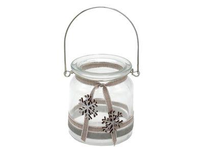 Windlicht mit Henkel Weihnachten Teelichtglas Deko Schneeflocke Silber Grau