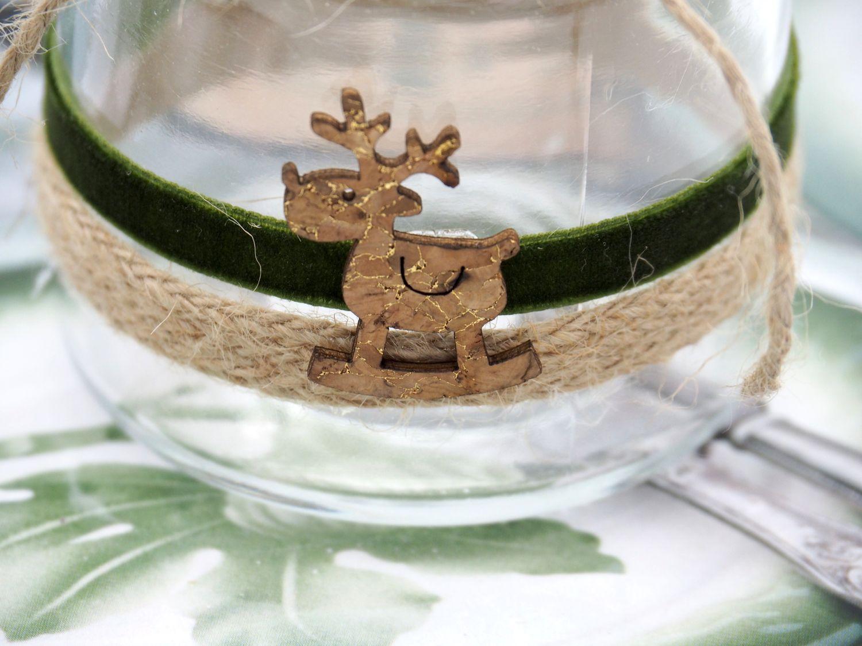Windlicht mit Henkel Weihnachten Teelichtglas Rentier Grün Kork Deko Tischdeko Advent Winter