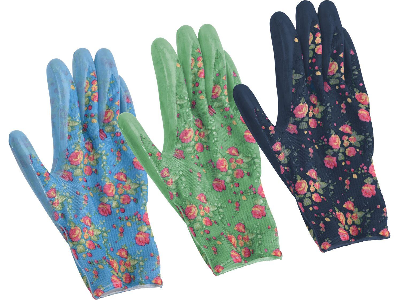Gartenhandschuhe M Damen Garten Handschuhe Gartenarbeit Blumenmotiv Grün Hellblau Dunkelblau