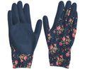 Gartenhandschuhe M Damen Garten Handschuhe Gartenarbeit Blumenmotiv Dunkelblau 4