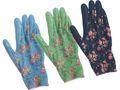 Gartenhandschuhe M Damen Garten Handschuhe Gartenarbeit Blumenmotiv Grün Hellblau Dunkelblau 1