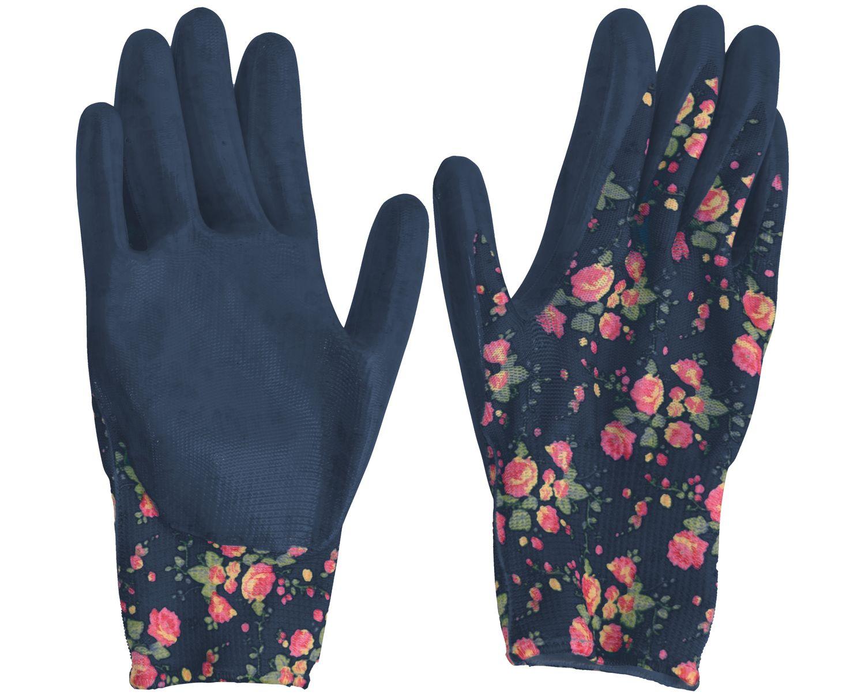 Gartenhandschuhe L Damen Garten Handschuhe Gartenarbeit Blumenmotiv Dunkelblau
